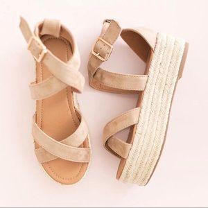 Natural | Ankle Strap Flatform Espadrille Sandals